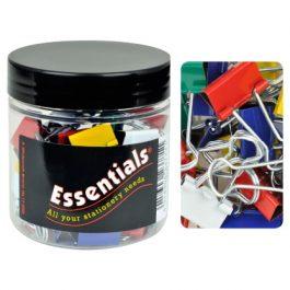 Essentials Tub Foldback Clips 19mm Assorted Colours Pk 50