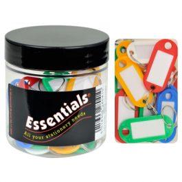 Essentials Tub Keyrings Assorted Colours Pk 20