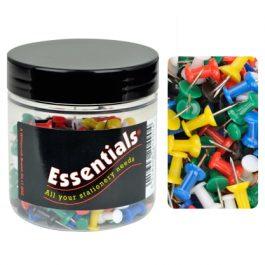 Essentials Tub Push Pins Assorted Colours Pk 200