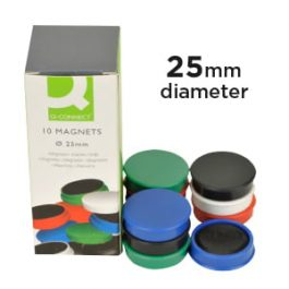 Q-Connect Magnets 25mm Assorted Pk 10