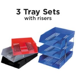 Deflecto Letter Trays Set Of 3 With Risers