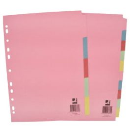 Q-Connect File Dividers Coloured Board A4
