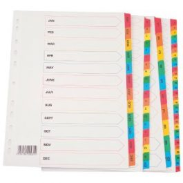 Q-Connect File Dividers Mylar Multi-Coloured Tabs