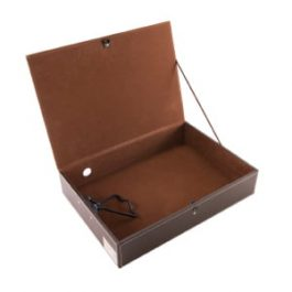 Osco Faux Leather Box File Brown
