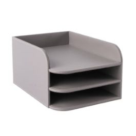 Osco Faux Leather 3-Tier Letter Tray Grey