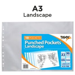 Tiger Punched Pockets A3 90 micron Landscape Pk 10