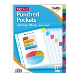Tiger Punched Pockets With 12 Dividers A4 Pk 10