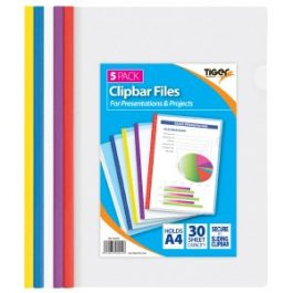 Tiger Clipbar Files A4 Assorted Colours Pk 5