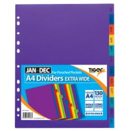 Tiger Polypropylene Dividers A4 Monthly Jan-Dec Extra-Wide