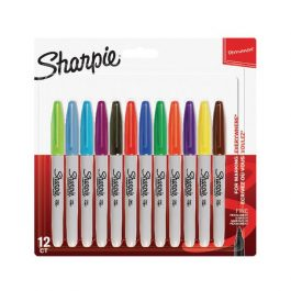 Sharpie Fine Permanent Markers Assorted Colours Pk 12