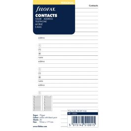 Filofax Personal Name, Address Refill