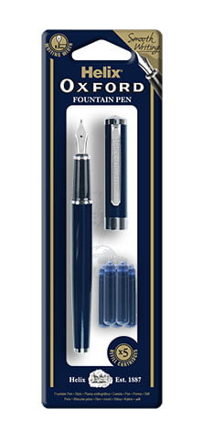 Helix Oxford Fountain Pen With 5 Blue Cartridges