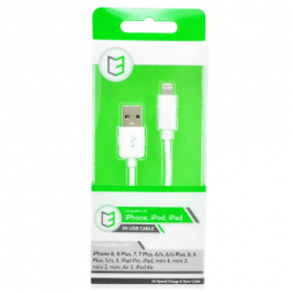 KHD Braided Charger Cable For IPhone 5/6/7/8/X – 1 Metre USB White