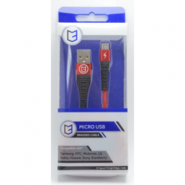 KHD Braided Charger Cable For Samsung, HTC, Huawei – 1 Metre Micro USB Red