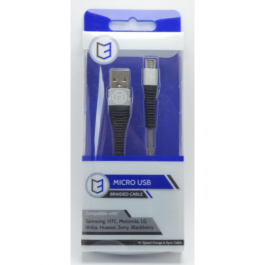 KHD Braided Charger Cable For Samsung, HTC, Huawei – 1 Metre Micro USB Blue