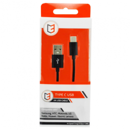 KHD Type C Charger Cable for Samsung, HTC, Huawei – 1 Metre USB Black