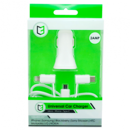 KHD Universal In-Car Charger for iPhone, Samsung, HTC White