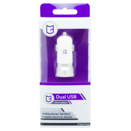 KHD In-Car Charger Dual USB For Mobile Phones, SatNavs & Portable Electronic Devices White
