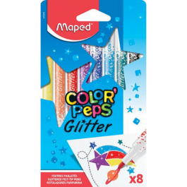 Maped Color Peps Glitter Felt Pens Pk 8