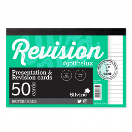 Silvine Student Pad Revision Cards White Pk 50