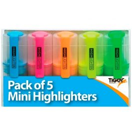 Tiger Mini Highlighters Assorted Colours Pk 5