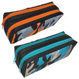 Tiger Camo Design Double Zip Pencil Cases