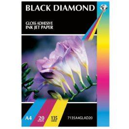 Black Diamond A4 Gloss Self-Adhesive 135 gsm Pk 20