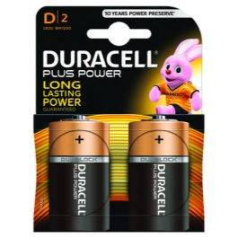 Duracell Plus Battery D Copper/Black Pk 2