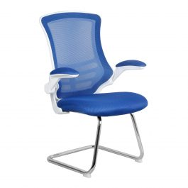 The Budapest Cantilever Chair Blue With White Frame