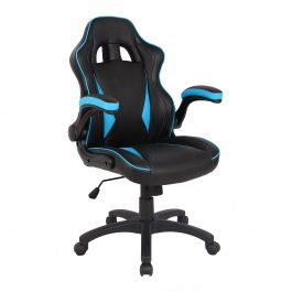 The Warsaw Gaming Chair Black with Blue Trim