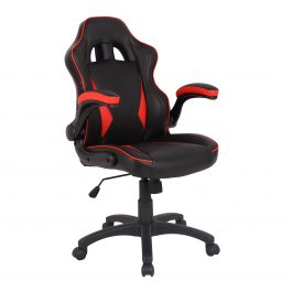 The Warsaw Chair Gaming Chair Black with Red Trim