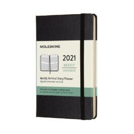 Moleskine 2021 Weekly 12 Month Pocket Vertical Diary Black Hard Cover