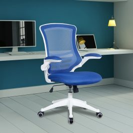 The Rome Mesh Operator's Chair Blue With White Base