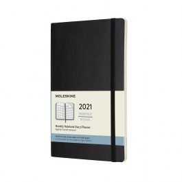 Moleskine 2021 Monthly Large Diary Black Soft Cover