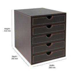 Osco Faux Leather 5-Drawer Sorter Brown