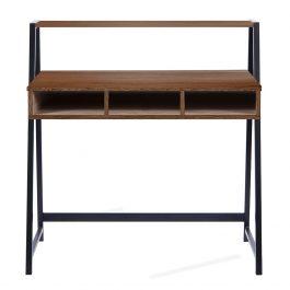 The Vienna Desk Walnut Finish With Black Frame