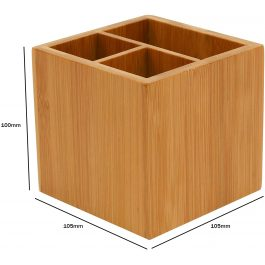Osco Bamboo Pen Pot with 3 Sections