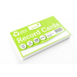 Silvine 100% Recycled Flash Cards Ruled White Pk 100