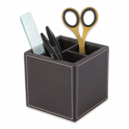 Osco Faux Leather Square Pen Pot Brown