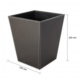 Osco Faux Leather Square Waste Bin Brown