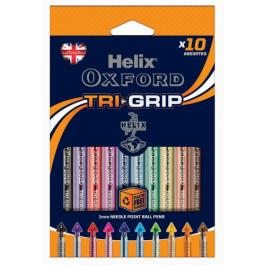 Helix Oxford Tri-Grip Ballpoint Pens Assorted Colours Pk 10