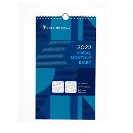 Collins 2022 Colplan Monthly Spiral Calendar Blue