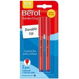 Berol Handwriting Pen Blue Medium Pk 2