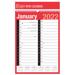 Tallon A3 Month To View 2-Column Planner 2022