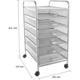Osco Mesh 6-Drawer Cart with Wheels Silver