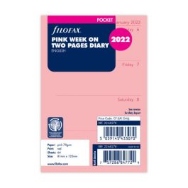 Filofax Pocket Week On Two Pages English Pink 2022 Diary Refill