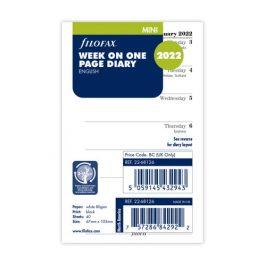 Filofax Mini Week Per Page English 2022 Diary Refill