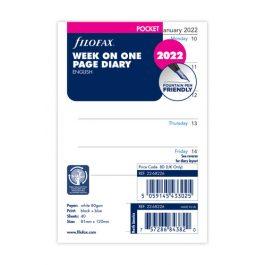 Filofax Pocket Week Per Page English 2022 Diary Refill