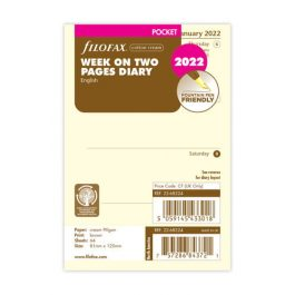 Filofax Pocket Week On Two Pages Cotton Cream English 2022 Diary Refill