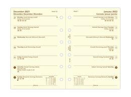 Filofax Pocket Week Per Page 4 Language Cotton Cream 2022 Diary Refill